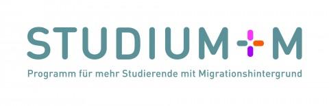 """Studium+M: Stiftzug mit Untertitel """"Proogramm für mehr Studierende mit Migrationshintergrund"""