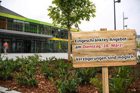 Mensa Stadtmitte mit Info-Schild