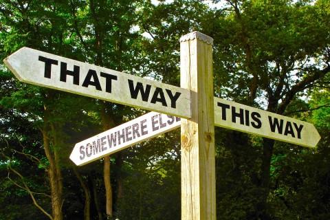 """Wegweiser mit den Optionen """"This Way, that way und somewhere else"""""""