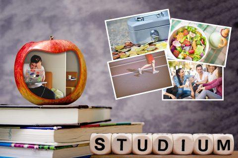 Collage mit Fotos zu Stress- und Entspannungsfaktoren