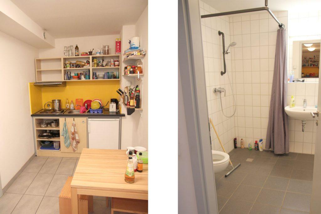 Wohnheim LAB, Berliner Allee, Beispiel Küche und Bad