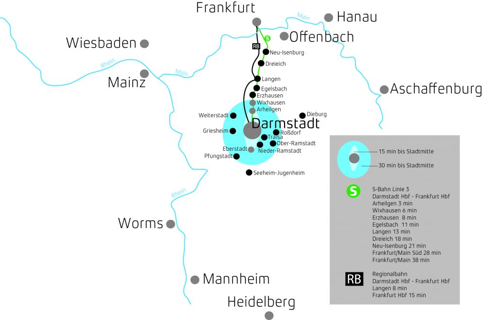 Lageplan der nahegelegenenen Wohnorte um Darmstadt