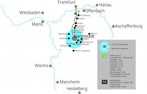 Landkarte mit Darmstadt und den umgebenden Städten
