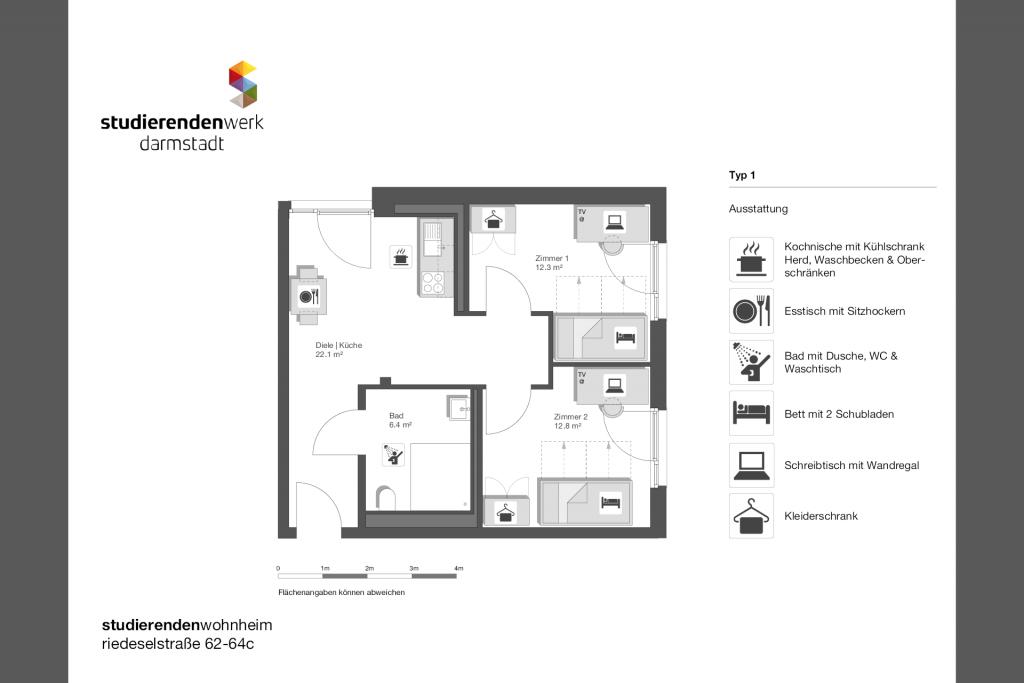 Wohnheim rest Riedeselstr. Grundriss Nr. 01