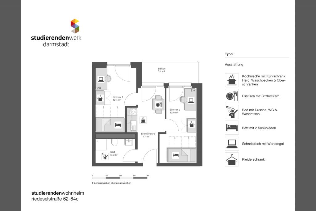 Wohnheim rest Riedeselstr. Grundriss Nr. 02