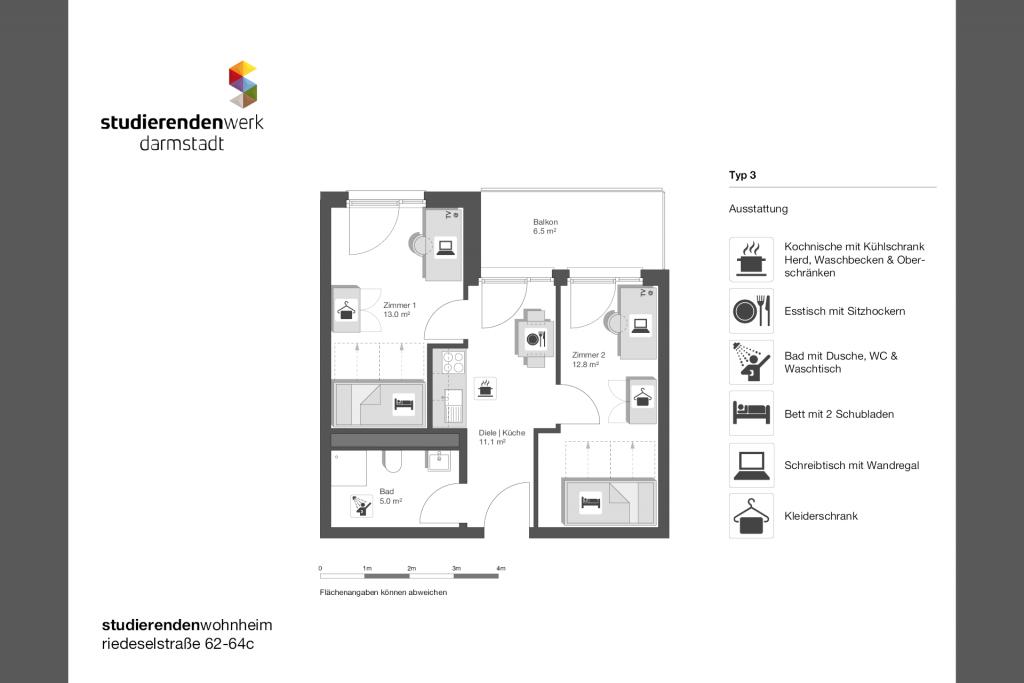 Wohnheim rest Riedeselstr. Grundriss Nr. 03