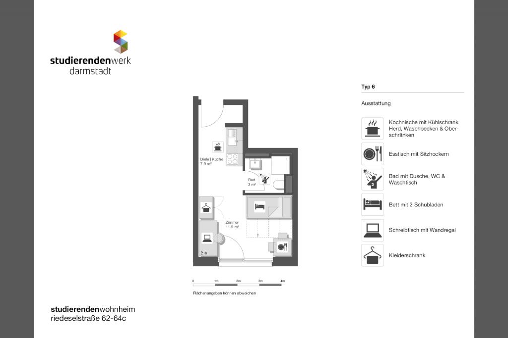 Wohnheim rest Riedeselstr. Grundriss Nr. 06