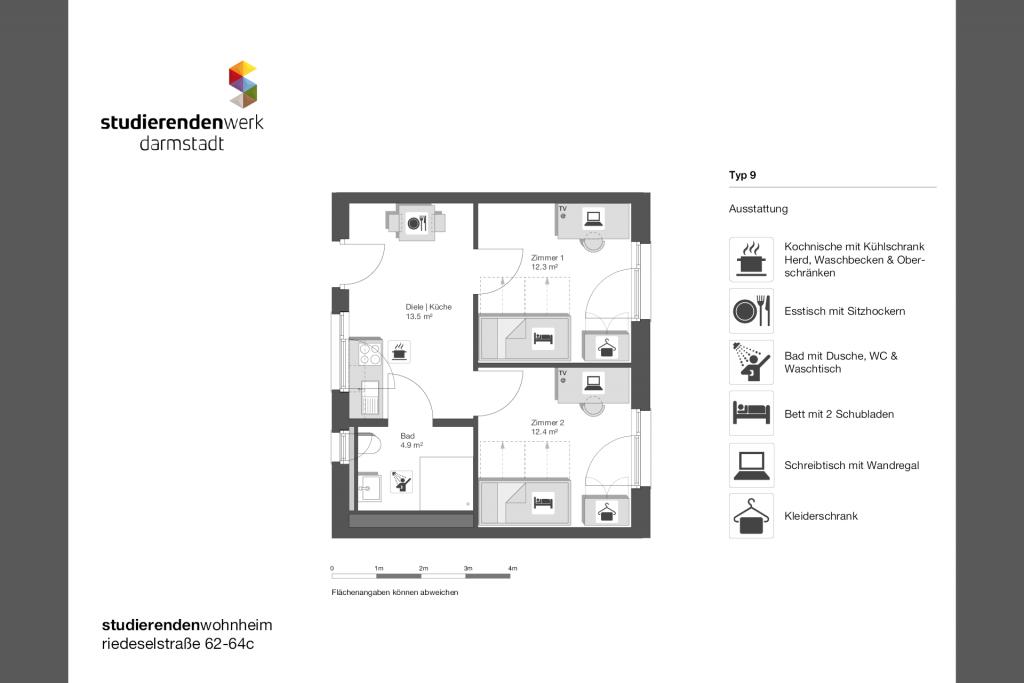 Wohnheim rest Riedeselstr. Grundriss Nr. 09
