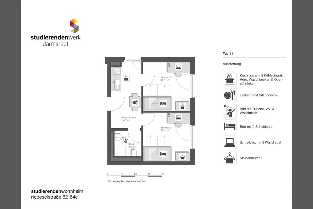 Wohnheim rest Riedeselstr. Grundriss Nr. 11