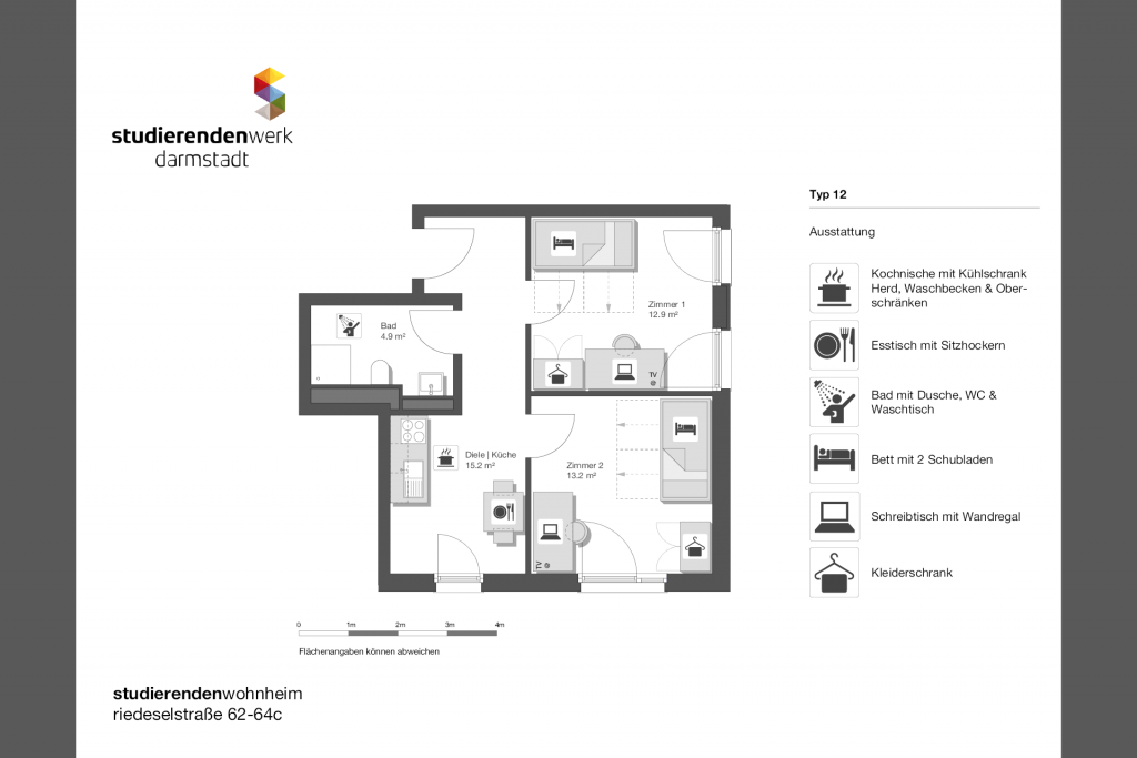 Wohnheim rest Riedeselstr. Grundriss Nr. 12
