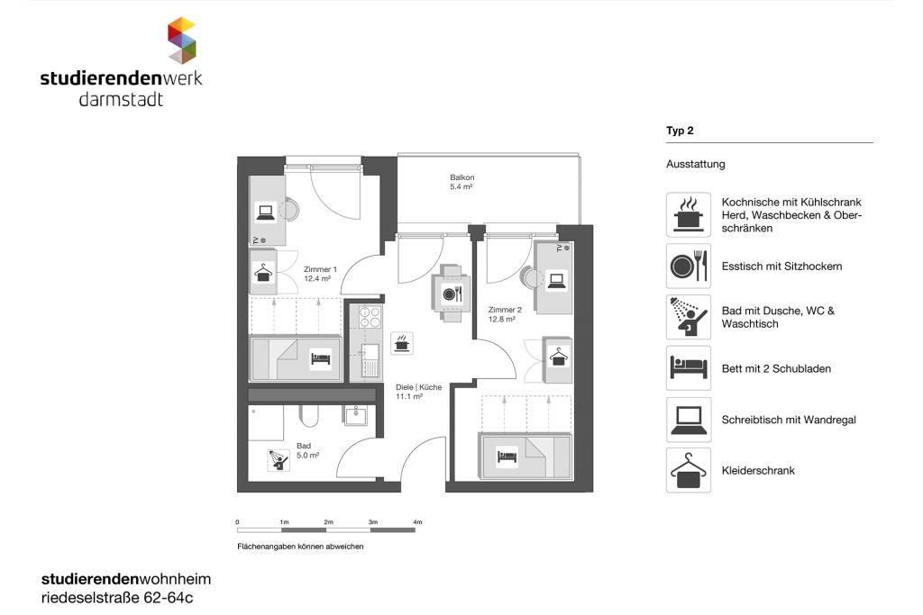 Wohnheim rest Riedeselstr. Grundriss Nr. 2