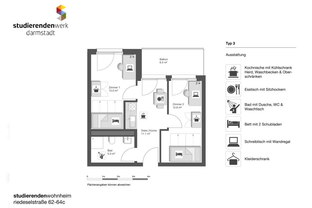 Wohnheim rest Riedeselstr. Grundriss Nr. 3