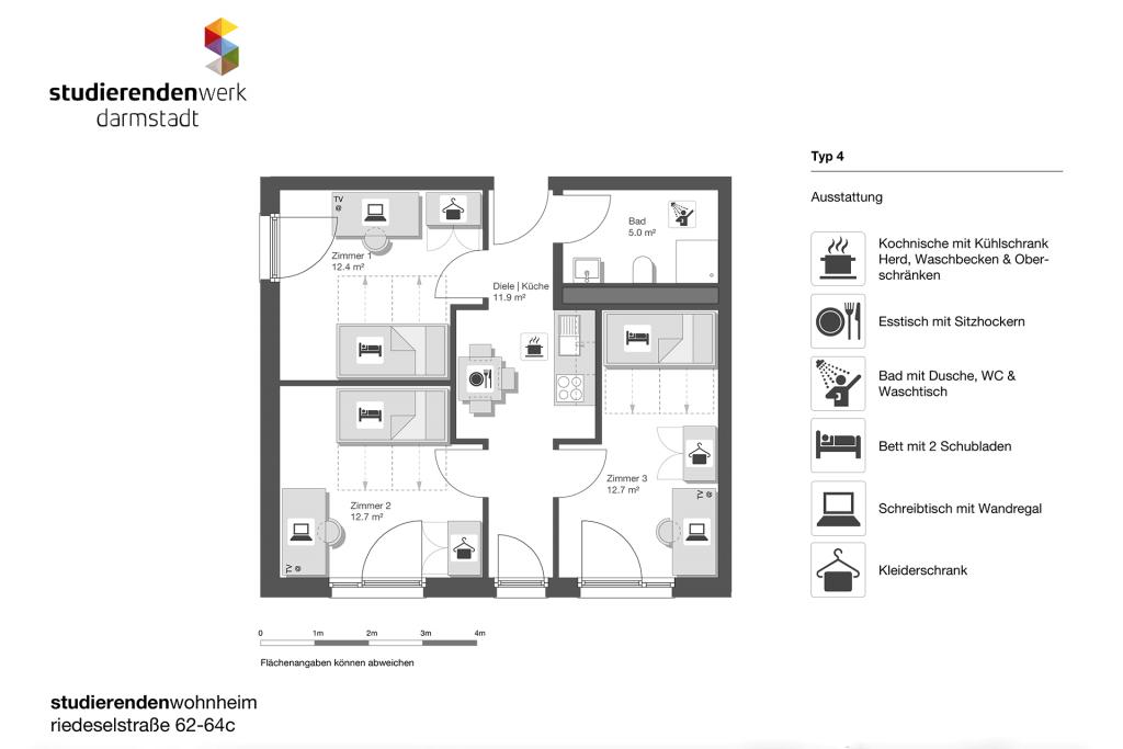Wohnheim rest Riedeselstr. Grundriss Nr. 4