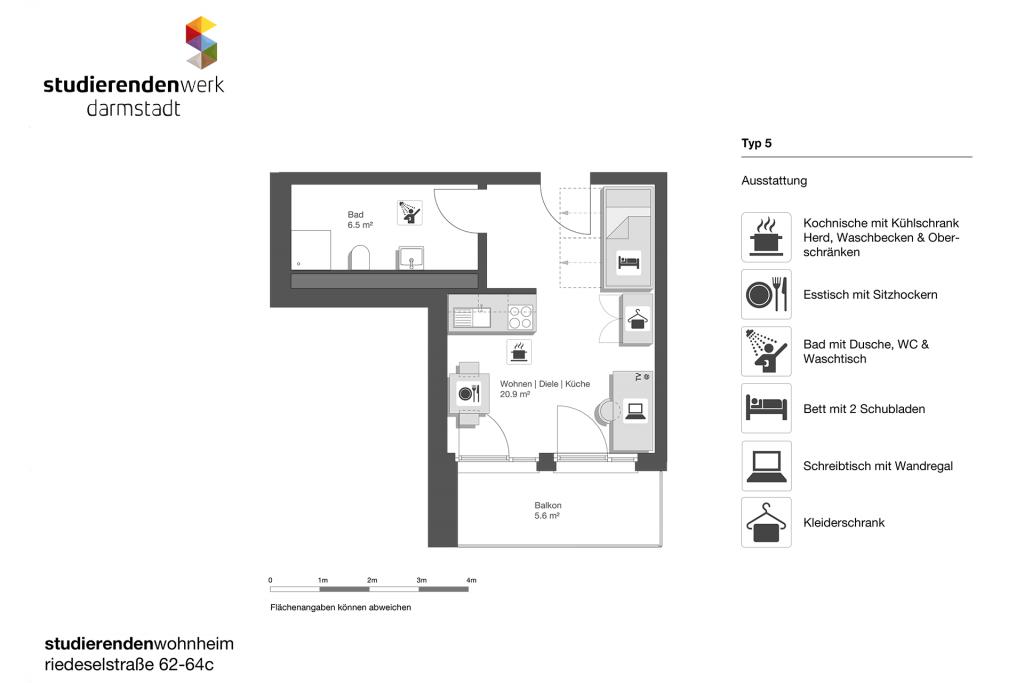 Wohnheim rest Riedeselstr. Grundriss Nr. 5