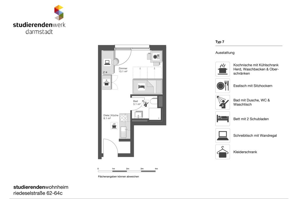 Wohnheim rest Riedeselstr. Grundriss Nr. 7
