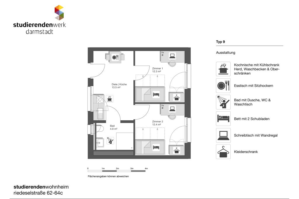 Wohnheim rest Riedeselstr. Grundriss Nr. 9