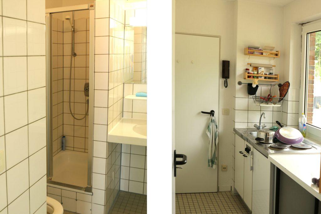 Wohnheim Studentendorf, Beispiel bewohntes Bad und Küche