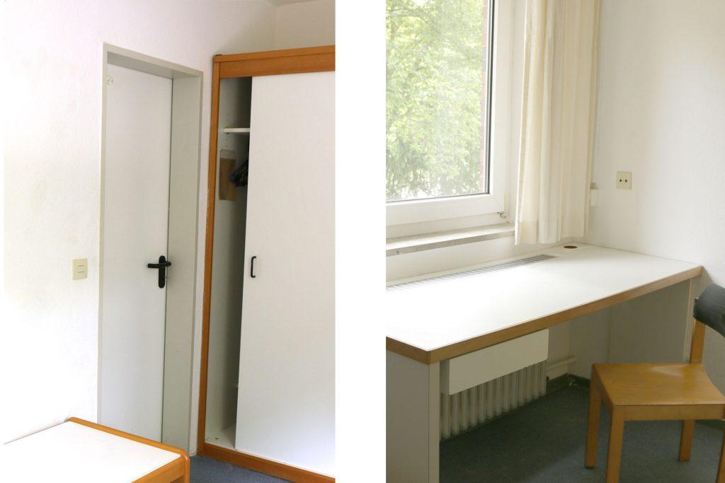 Wohnheim Studentendorf, Beispiel möbliertes unbewohntes Zimmer